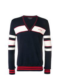 Navy Print V-neck Sweater