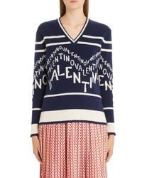 Valentino Chevron Logo Wool Cashmere Sweater