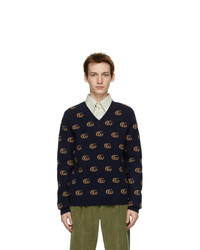 Gucci Navy Jacquard Double G V Neck Sweater