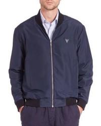 Navy Print Varsity Jacket