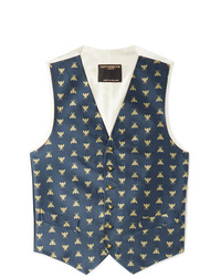 Favourbrook Navy Slim Fit Silk Jacquard Waistcoat