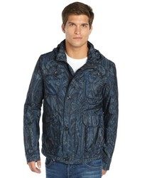 Etro Blue Paisley Nylon Woven Hooded Raincoat