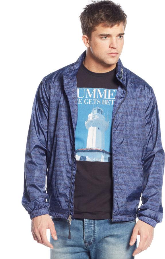 fc27c5f77f40c6 ... Armani Jeans Printed Windbreaker Jacket ...