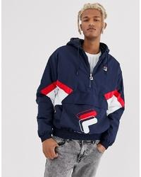 Fila Samuel 12 Zip Colour Overhead Jacket In Navy