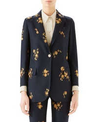 Gucci Camellia Fil Coupe Cotton Wool Jacket