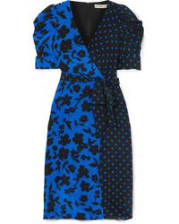 Alice + Olivia Siona Wrap Effect Printed Silk De Chine Dress