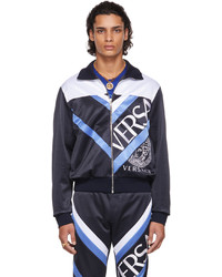 Versace Navy Jersey Logo Jacket