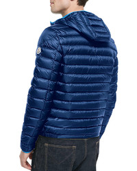 ... Moncler Athenes Hooded Puffer Jacket Blue
