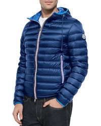 Moncler Athenes Hooded Puffer Jacket Blue