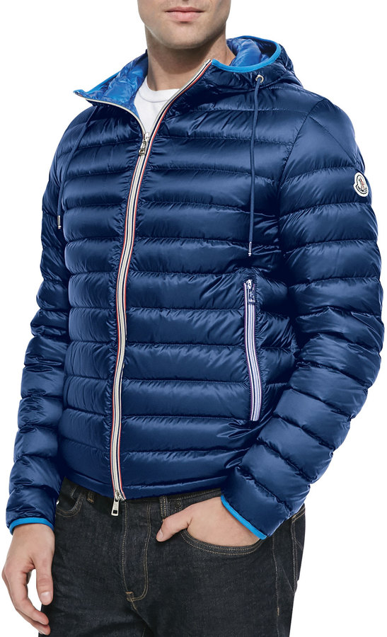 professional unique style catch $995, Moncler Athenes Hooded Puffer Jacket Blue