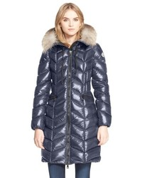 Bellette lacquer down coat with genuine fox fur ruff medium 517170