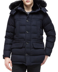 Burberry Cashmere Puffer Coat With Fur Trim Navy