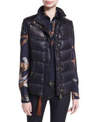 Ralph Lauren Collection Taryn Leather Trim Down Vest With Fur Collar