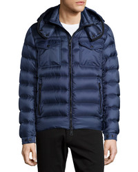 Moncler Edward Hooded Puffer Jacket Blue