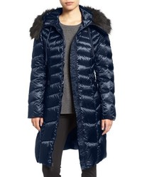 Tahari Emma Quilted Down Feather Coat With Faux Fur Trim