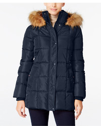 Tommy Hilfiger Faux Fur Trim Hooded Puffer Coat Only At Macys