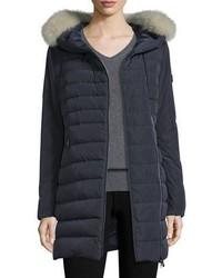Hooded asymmetric zip puffer jacket navy medium 746486