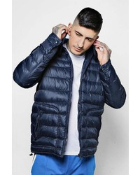 Boohoo Hooded Puffer Jacket With In Built Headphones