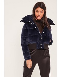 Missguided Navy Velvet Cropped Padded Coat