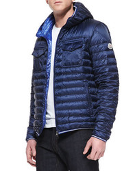 Moncler Hooded Puffer Jacket Navy