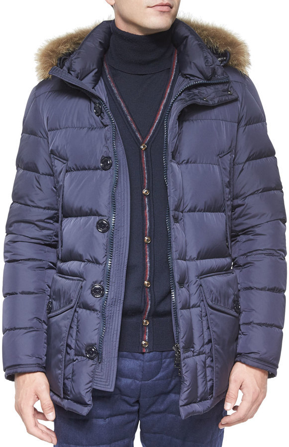 ... Moncler Moncler Cluny Nylon Puffer Jacket with Fur Hood, Navy