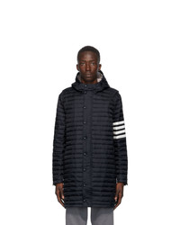 Thom Browne Navy Down 4 Bar Quilted Hooded Coat