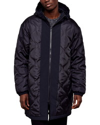 Topman Onion Reversible Classic Fit Quilted Hooded Parka