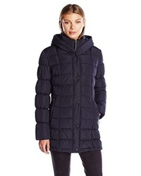 Calvin Klein Puffer Coat Long With Knit Trim Side Detail