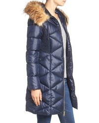 b096924db66a ... GUESS Quilted Puffer Coat With Faux Fur Trim