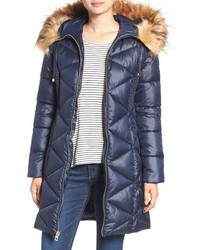 Quilted puffer coat with faux fur trim medium 758029