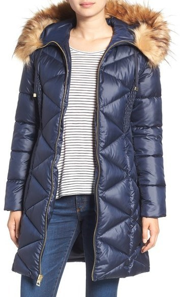 b83af87045b4 ... Navy Puffer Coats GUESS Quilted Puffer Coat With Faux Fur Trim ...