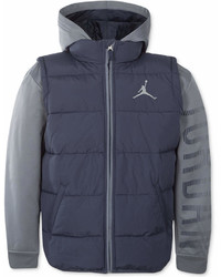 Jordan Aj Hooded Layered Look Puffer Vest Jacket Little Boys