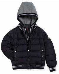Moncler Auberie Tipped Puffer Jacket Navy Size 4 6