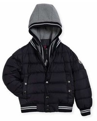 Moncler Auberie Tipped Puffer Jacket Navy Size 8 14