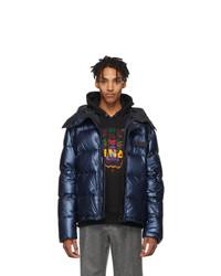 Kenzo Blue Down Metallic Hooded Jacket