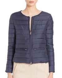 Eleventy Collarless Short Puffer Jacket