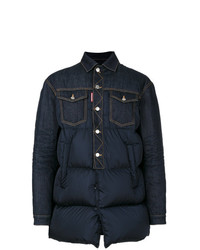 DSQUARED2 Denim Panel Padded Coat