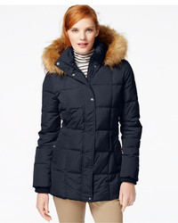 Tommy Hilfiger Faux Fur Trim Quilted Puffer Coat