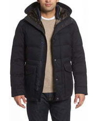 Cole Haan Faux Mixed Media Hooded Down Jacket