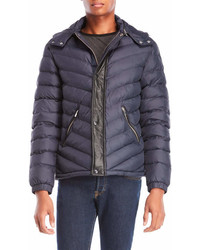 The Kooples Hooded Leather Trim Puffer Jacket