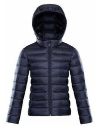 Moncler Iraida Hooded Lightweight Down Puffer Jacket Navy Size 4 6
