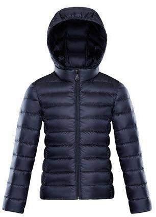 Moncler Iraida Hooded Lightweight Down Puffer Jacket Navy Size 4 6