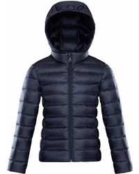 Moncler Iraida Hooded Lightweight Down Puffer Jacket Navy Size 8 14