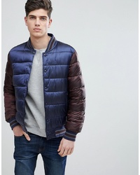 Mango Man Quilted Bomber With Contrast Sleeves And Hood In Navy