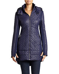 Saks Fifth Avenue RED Missy Quilted Zip Front Puffer Coat