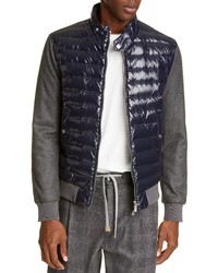 Eleventy Mixed Media Quilted Down Jacket