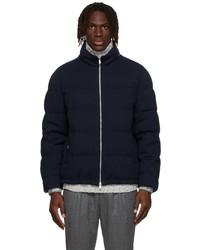 Brunello Cucinelli Navy Down Cashmere Puffer Jacket