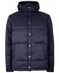 Topman Navy Hooded Puffer Jacket