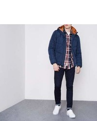 River Island Navy Jack And Jones Hooded Puffer Jacket