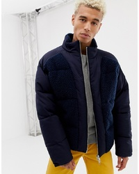 ASOS DESIGN Puffer Jacket With Bonded Borg In Navy